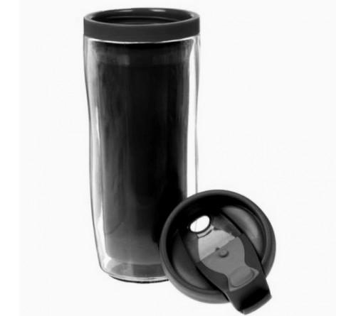 Термостакан пластиковый под полиграфическую вставку черный 350 мл