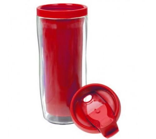 Термостакан пластиковый под полиграфическую вставку красный 350 мл