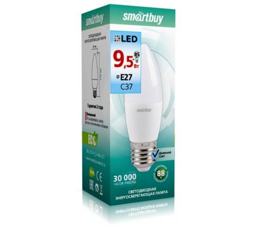 Лампа светодиодная SmartBuy (LED) C37- 9.5W-4000K E27 Белый свет Свеча
