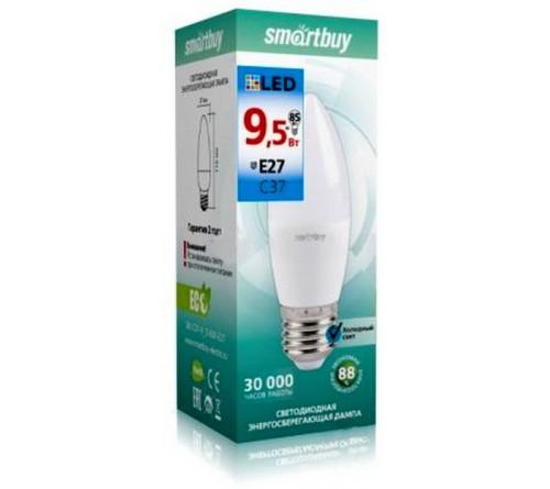 Лампа светодиодная SmartBuy (LED) C37- 9.5W-6000K E27 Белый свет Свеча