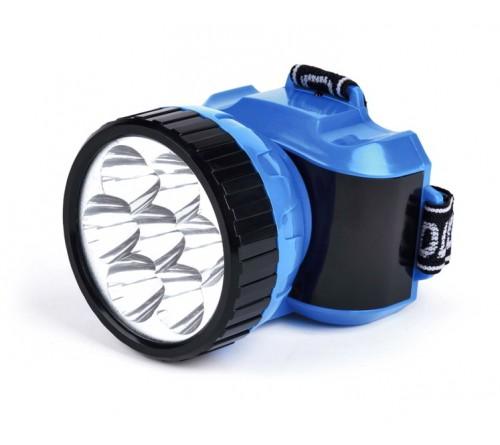Фонарь Smartbuy SBF-  24-B, синий. Аккумуляторный налобный фонарь. 7 LED. Дальность освещения 150м