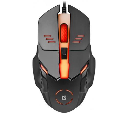 Мышь DEFENDER    490 Ultra Gloss (USB,  1000dpi,Optical) Black.7 цветов подсветки