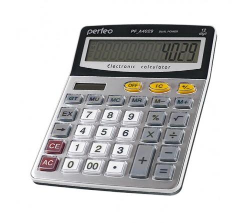 Калькулятор PERFEO PF A4029           (Бухгалтерский, 12-разрядов) Silver