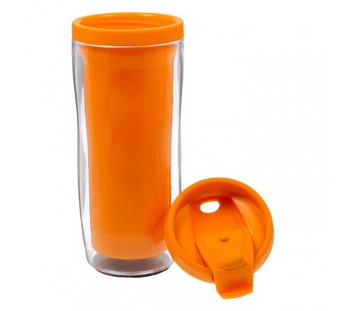 Термостакан пластиковый под полиграфическую вставку оранжевый 350 мл