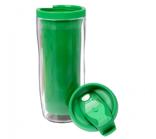 Термостакан пластиковый под полиграфическую вставку зелёный 350 мл