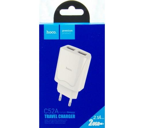 Сетевое Зарядное Устройство 220V- 2*USB выхода  Hoco C 52A  2.1A White