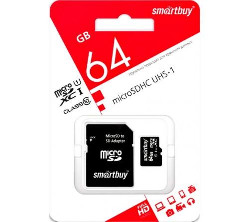 Карта памяти  MicroSDXC     64Gb (Class  10)  SmartBuy +  Адаптер SD UHS-1