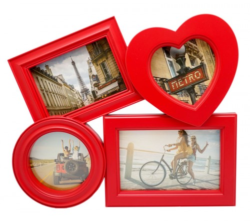 Ф/Рамка ЯМ FFC-2002  комби Fotografia 4 фото красная                         (  6)