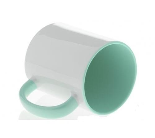 Кружка цветная внутри+цв. ручка Sublimation B101 (мятная) арт MUG03 330 мл