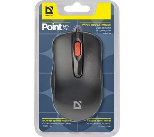 Мышь DEFENDER    756 Point          (USB, 1000dpi,Optical) Black