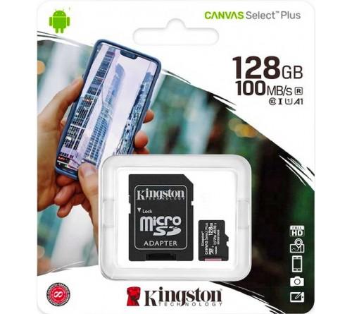 Карта памяти  MicroSDXC   128Gb (Class  10)  Kingston  +  Адаптер SD Canvas Select Plus A1 100Mb/s