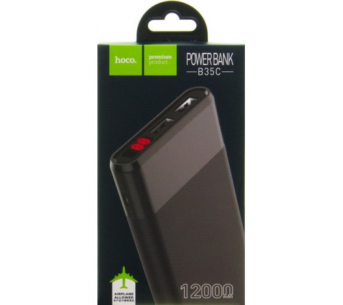 Внешний Аккумулятор Power Bank Hoco B  35 C Rege                       12000 mAh 2*USB 2.0A+1*USB 1.0A Black Type-C Polymer Fast Charge