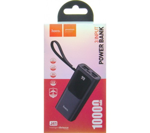 Внешний Аккумулятор Power Bank Hoco J  41                                    10000 mAh 2*USB 2.0A + 2.0A Black Type-C,Lighting Fast Charge