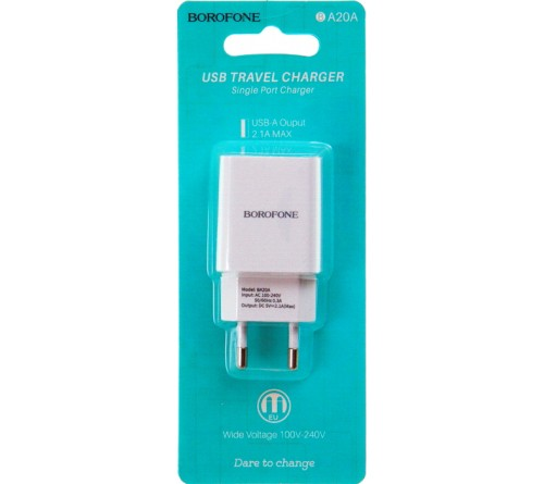 Сетевое Зарядное Устройство 220V- 1*USB выход   Borofone BA 20A  2.1A White