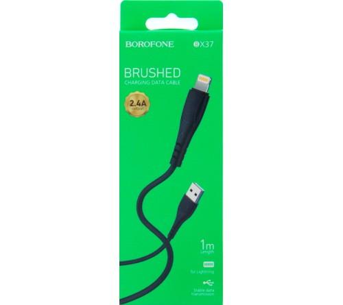 Кабель  USB - Lighting iPhone Borofone BX 37 1.0 m,2.4A Black,коробочка Силикон