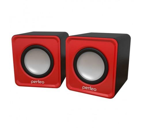 Колонки Perfeo PF-  128 Wave R             2.0 (2*   3W)  Red Пластик, питание 5V или от USB