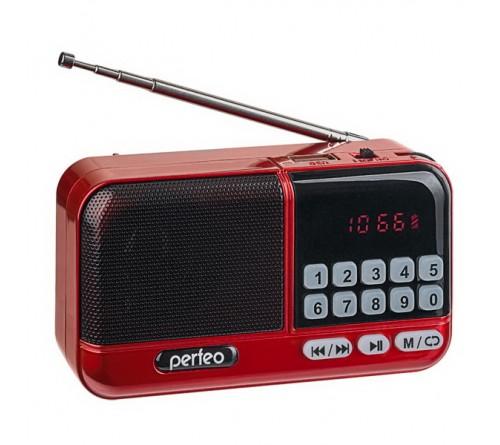 Радиоприемник-миниспикер Perfeo Aspen                             FM,MP3 USB,microSD 18650 Red