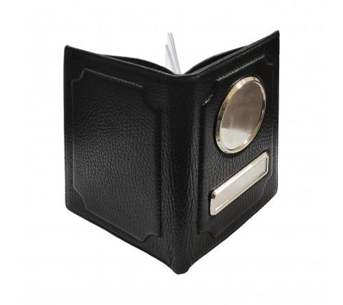 Обложка-кошелек для автодокументов черная, нат. кожа, флоттер