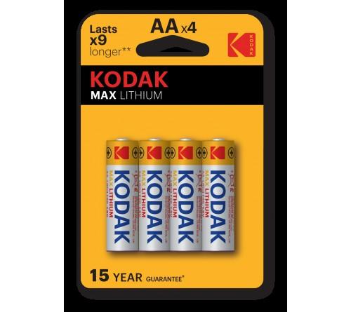 Батарейка KODAK             FR6  Lithium   (  4BL)(80)(400)  L91 MAX Lithium