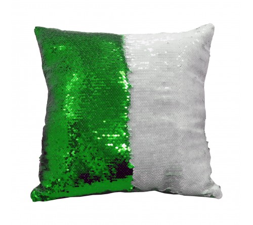 Наволочка Хамелеон 40х40 Зелёная пайеточная Стандарт