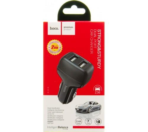 Автомобильное Зарядное Устройство 12V- USB 2*USB выхода Hoco Z 36 2.1A,Black