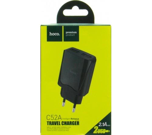 Сетевое Зарядное Устройство 220V- 2*USB выхода  Hoco C 52A  2.1A Black