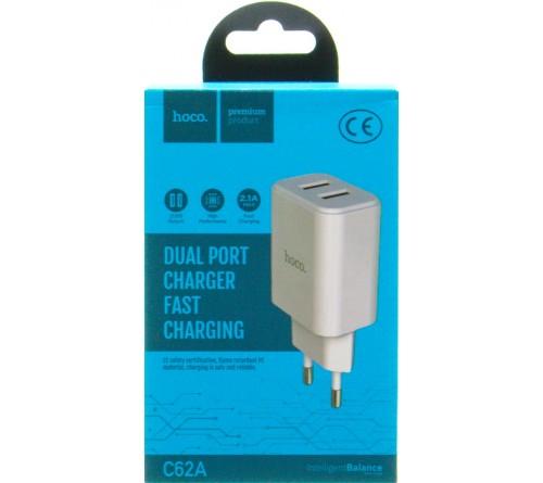 Сетевое Зарядное Устройство 220V- 2*USB выхода  Hoco C 62A  2.1A White