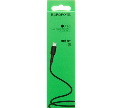 Кабель  USB - Lighting iPhone Borofone BX 16 1.0 m,2.0A Black,коробочка Силикон