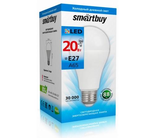 Лампа светодиодная SmartBuy (LED) A65-  20W-6000K E27 Холодный Дневной свет