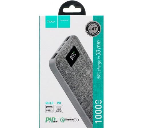 Внешний Аккумулятор Power Bank Hoco J  47                                    10000 mAh 2*USB + Type-C 2.0A Grey MicroUSB/Type-C вход,PD3.0,QC3.0