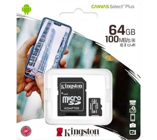 Карта памяти  MicroSDXC     64Gb (Class  10)  Kingston UHS-1 U1 +  Адаптер SD Canvas Select Plus A1 100Mb/s