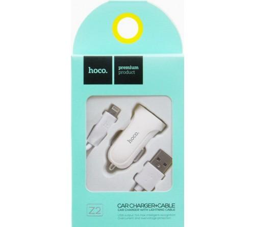 Набор Автомобильное Зарядное Устройство + Кабель USB- Lighting iPhone Hoco Z    2  1.5A,White