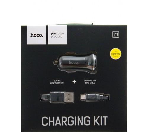 Набор Автомобильное Зарядное Устройство + Кабель USB- Lighting iPhone Hoco Z    1  2.1A,Black