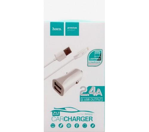Набор Автомобильное Зарядное Устройство + Кабель USB- Lighting iPhone Hoco Z  12  2.4A,White