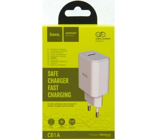 Сетевое Зарядное Устройство 220V- 2*USB выхода  Hoco C 61A  2.1A White