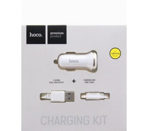 Набор Автомобильное Зарядное Устройство + Кабель USB- Lighting iPhone Hoco Z    1  2.1A,White