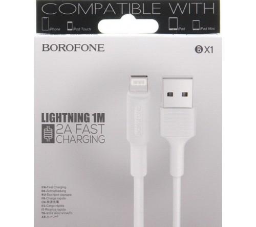 Кабель  USB - Lighting iPhone Borofone BX   1 1.0 m,2.0A White,коробочка Силикон