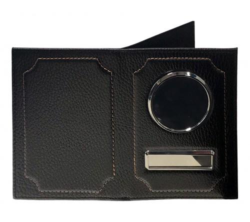 Обложка для автодокументов и паспорта, флоттер, нат. кожа, черная