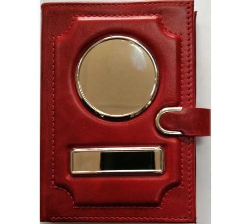 Обложка-портмоне для автодокументов красная, нат. кожа, пулап на молнии с застежкой