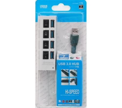 USB-концентратор SmartBuy (SBHA-7304-W) White с выключателями USB 3.0