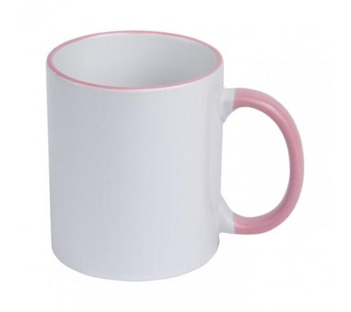 Кружка керамика белая, ободок и ручка Розовая стандарт 330мл