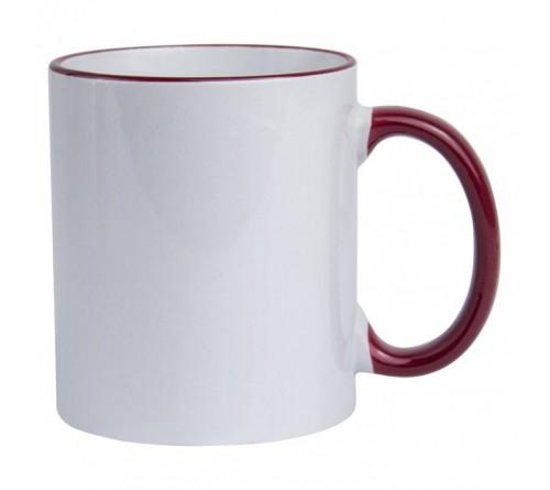 Кружка керамика белая, ободок и ручка Бордовая стандарт 330мл