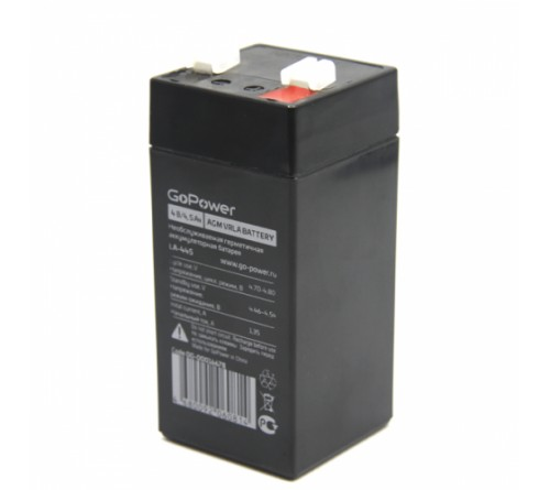 Аккумулятор GoPower VRLA  4v - 4,5 Ah    Свинц.- кислотный  AGM  (1 / 10)