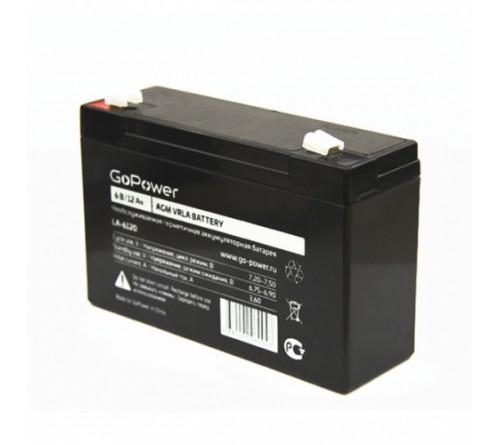 Аккумулятор GoPower VRLA  6v - 12 Ah    Свинц.- кислотный  AGM  (1 / 10)