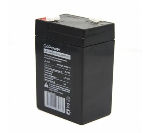 Аккумулятор GoPower VRLA  6v - 4,5 Ah    Свинц.- кислотный  AGM  (1 / 10)