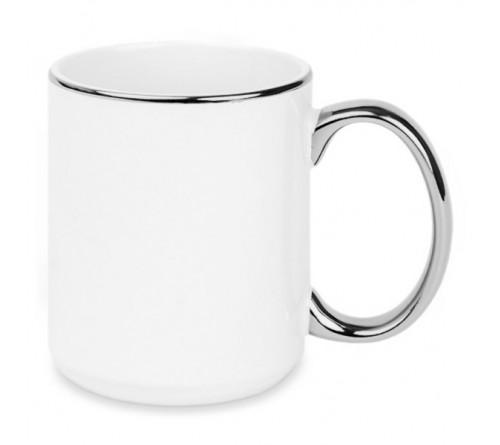Кружка глиттерная градиент серебристо-золотистая 330 мл
