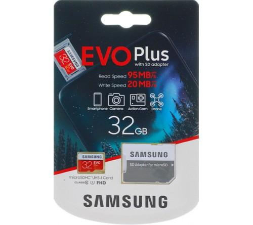 Карта памяти  MicroSDHC     32Gb (Class  10)  Samsung +  Адаптер SD Evo Plus UHS-I U1 (20/95 Mb/s)