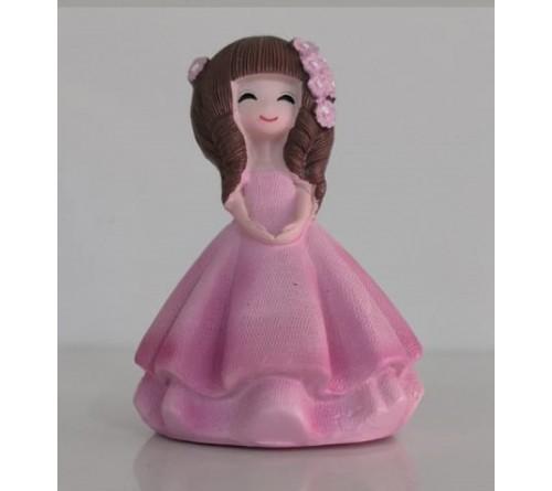 Сувенир  H1683A  Девочка в розовом платье   8,5 см. Керамика