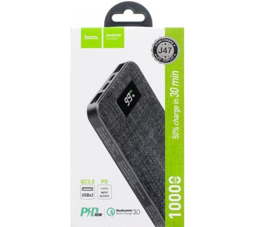Внешний Аккумулятор Power Bank Hoco J  47                                    10000 mAh 2*USB + Type-C 2.0A Black MicroUSB/Type-C вход,PD3.0,QC3.0