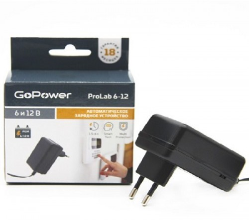 Зарядное устройство  GoPower ProLab 6-12 для свинцово-кислотных аккумуляторов 6 и 12V  1.0A
